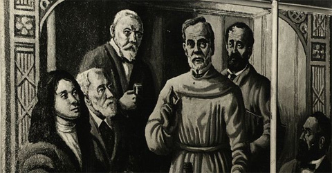 Robert Koch, Louis Pasteur and other microbiologists made a cast of pioneering medical detectives.  A mural at The Ohio State University Social Administration Building. Source: The Short North Gazette.