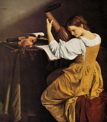 1626_Orazio_Gentileschi_-_Lute_Player painting illusion